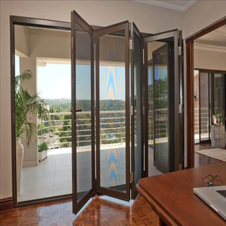 Soundproof, Non-deformable Aluminum Folding Door for Hotels with Double Glazing